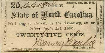 25 центов из Северной Каролины