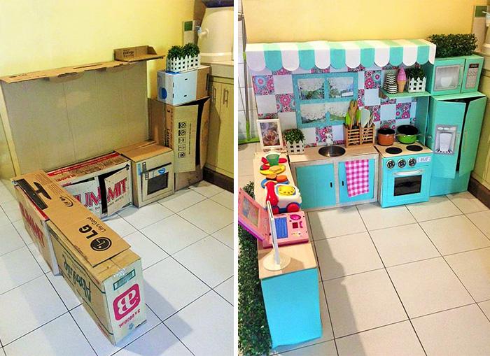 Как сделать из обычных коробок игрушечную кухню для вашего малыша