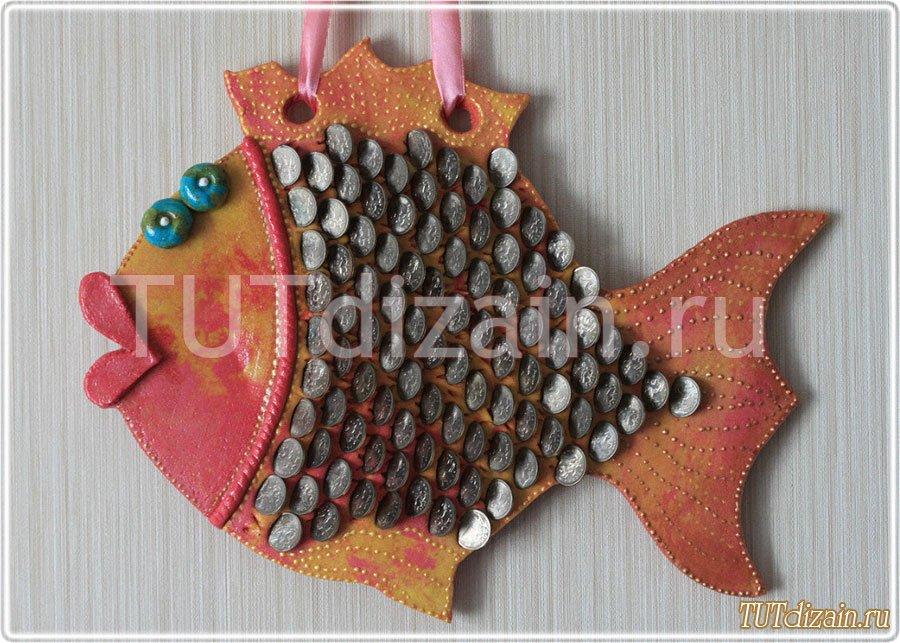 Денежная рыба из соленого теста