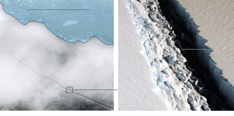 Крупнейший в истории айсберг отколется от антарктического ледника в течении ближайших месяцев