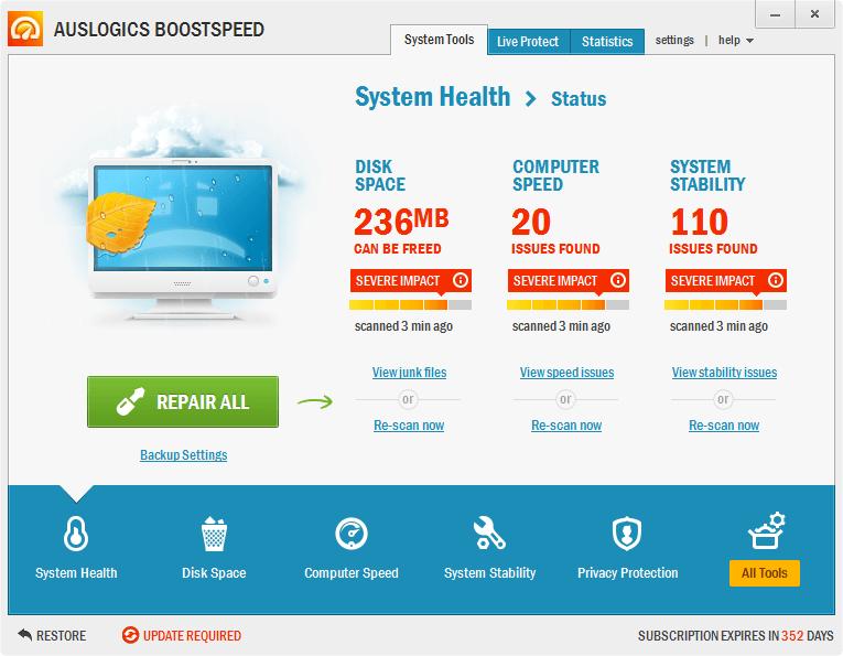Auslogics BoostSpeed 6 - бесплатная лицензия на 1 год