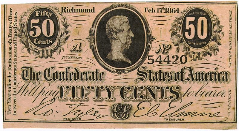 Центы Конфедерации тоже были бумажными. Небольшой тираж серебряных центов был отчеканен в самом начале войны. Но потом кончились драгоценные металлы, да и чеканить монеты стало негде - в руках северян оказался Новый Орлеан, где находился монетный двор. Эта купюра была напечатана за год до окончания войны. Что можно было купить на эти деньги в то время история умалчивает.