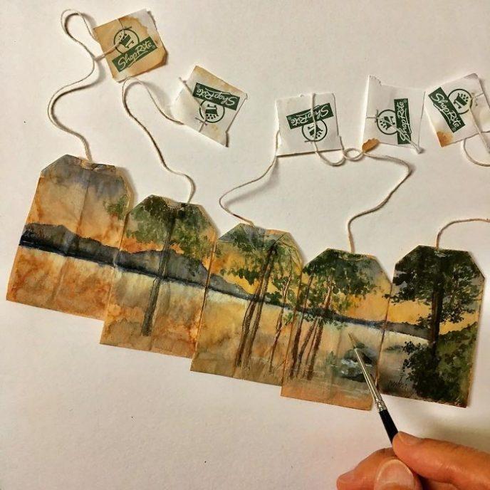 Художница использует чайные пакетики как холст для своих рисунков