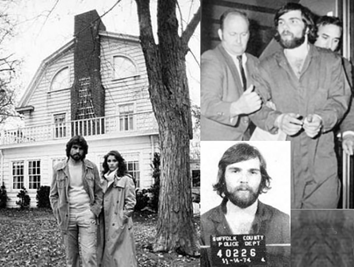 Семья Латцев и Рональд на фоне дома, в котором произошли убийства.