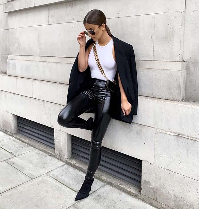 Кожаные легинсы: модный тренд 2020 — как их правильно носить