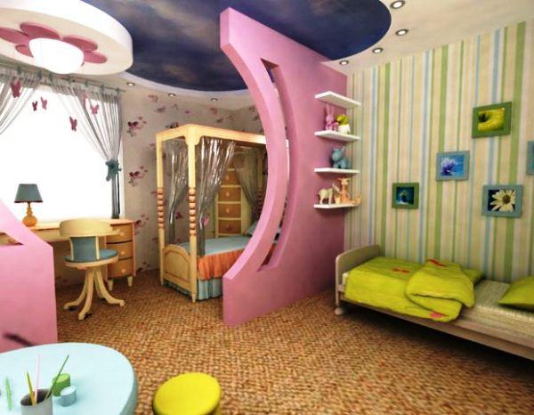 перегородки в комнате для зонирования детской фото