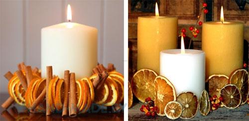 Украсить свечу на новый год своими руками