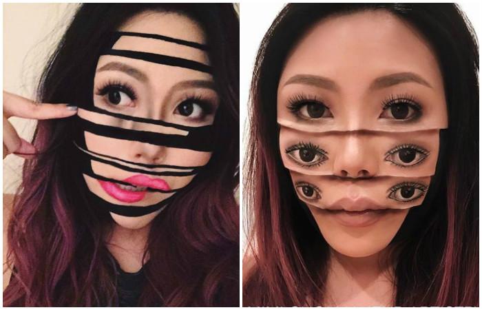 Не для слабонервных: как девушка превращает собственное лицо в жуткие оптические иллюзии