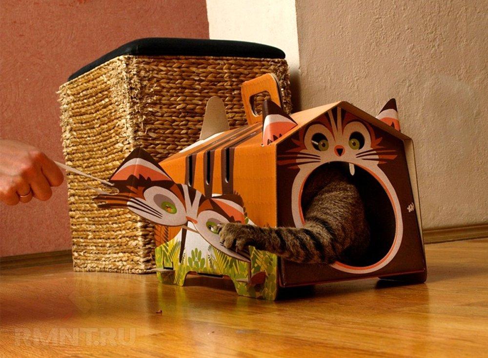 Как сделать кошачий дом из картона