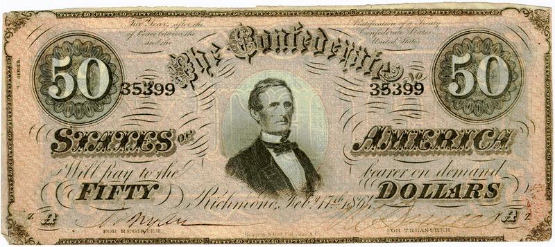Портрет Джефферсона Дэвиса - президента Конфедерации
