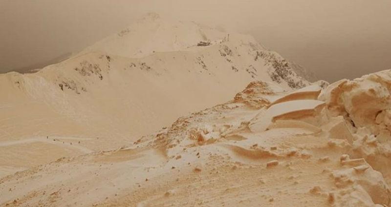 «Верблюды на подходе»: в Сочи горнолыжные склоны пожелтели от песка из Африки