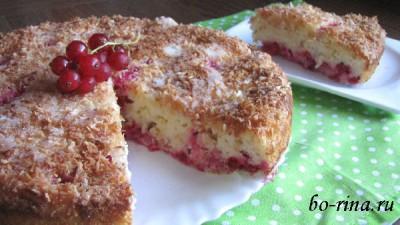 Пирог с красной смородиной (кефирное тесто)