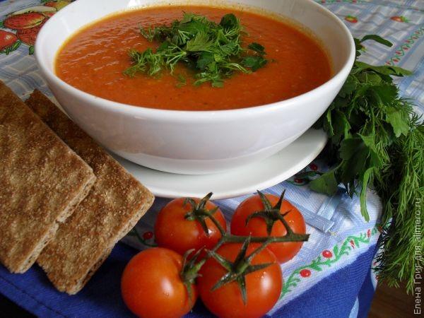 Томатный суп-пюре с чесноком