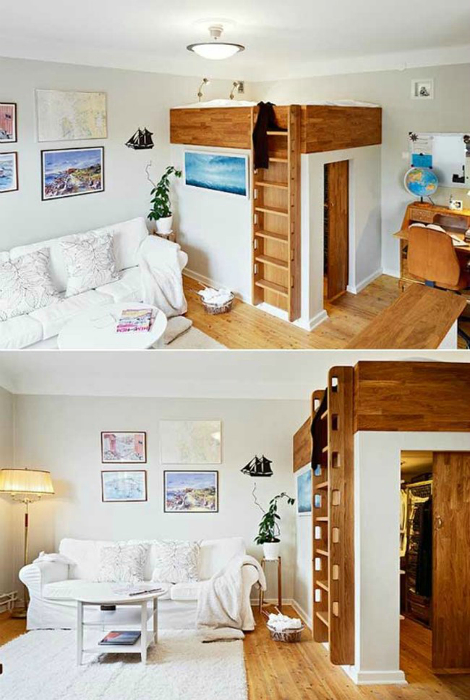 Небольшая комната с кроватью чердаком и гардеробной.