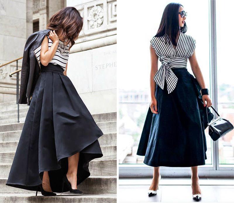 расклешенная юбка с чем носить