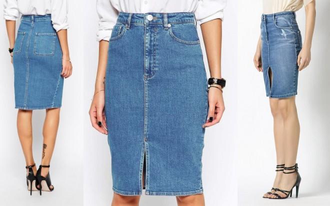 8 модных образов с джинсовой юбкой