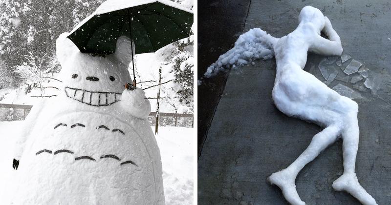 Японцы превращают неожиданный снег в произведения искусства!