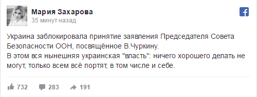 Мария Захарова: Украина заблокировала принятие заявления в Совбезе ООН, посвящённого Чуркину