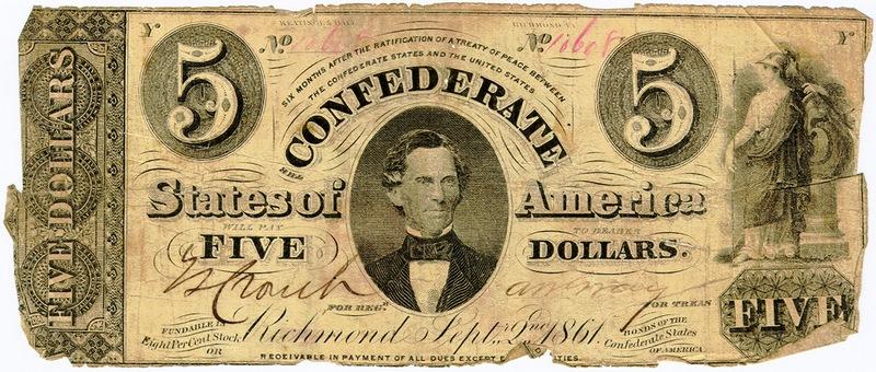 Кристофер Густавус Меммингер, министр финансов Конфедерации на 5-долларовой купюре