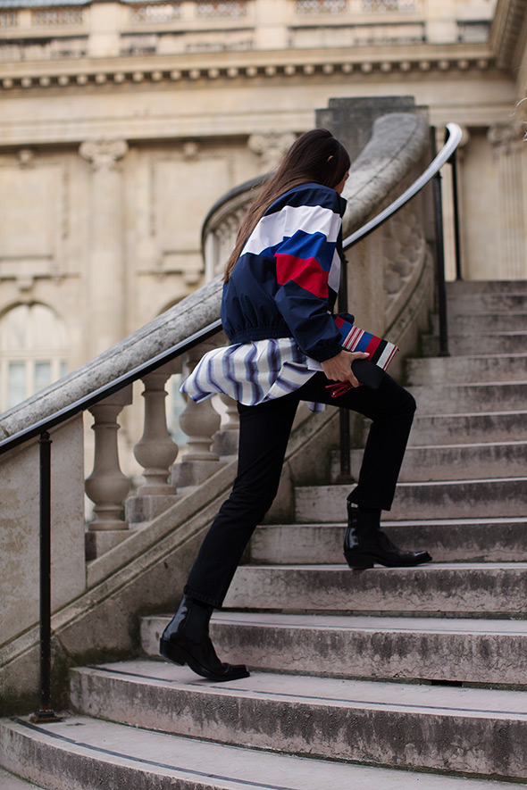 On the Stairs to At Rochas, Paris