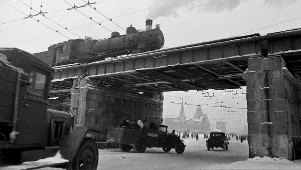 Вид на виадук на Каланчевке, и на Ярославский вокзал. Москва, 1946 год. было, история, фото