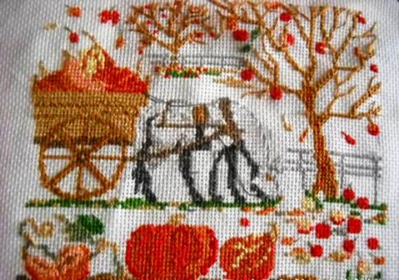 """Вышивка крестом — """"Лошадка с тыквами"""""""