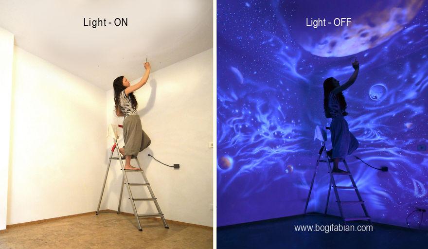 Когда погасли огни, мои светящиеся фрески превратили эту комнату в Мечтательный Мир