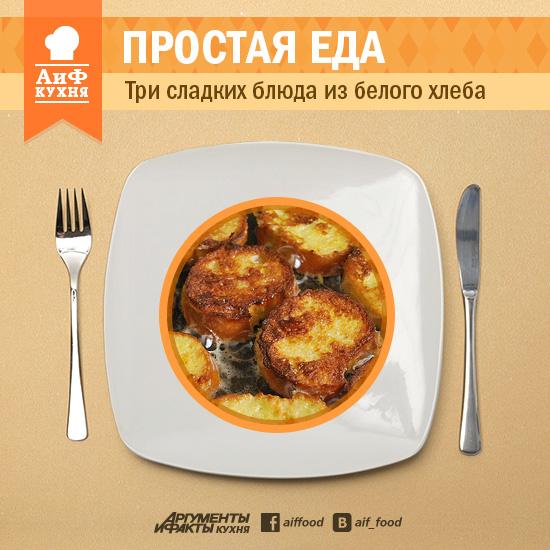 Простая еда: три сладких блюда из белого хлеба