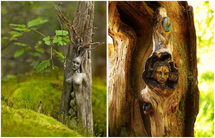 Души внутри деревьев: потрясающие скульптуры из обычных коряг