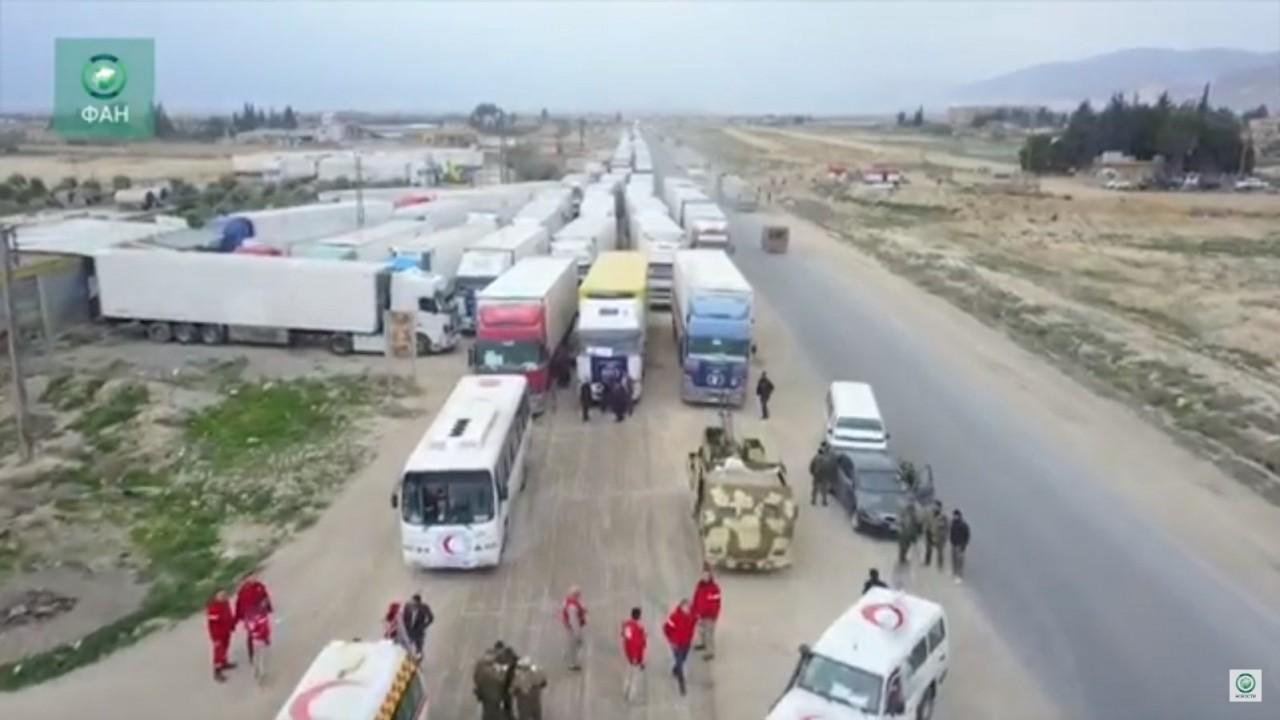 Формирование гумколонны в Сирии попало на видео