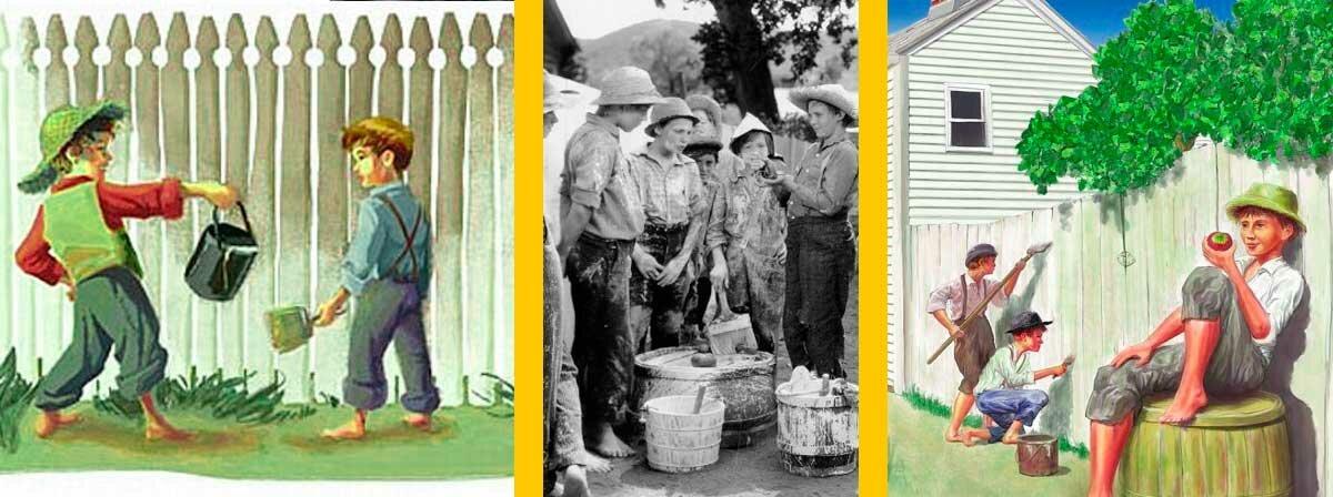 Том Сойер - смотрит за тем как ему красят его забор