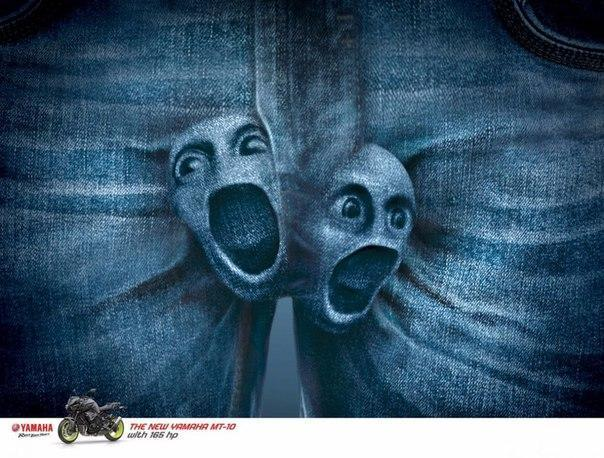 Креативная реклама мотоциклов Yamaha.
