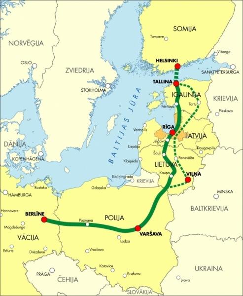 Предполагаемые затраты попроекту Rail Baltica— 5,8млрдевро