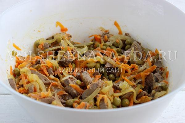 Как сделать обжорку салат с печенью
