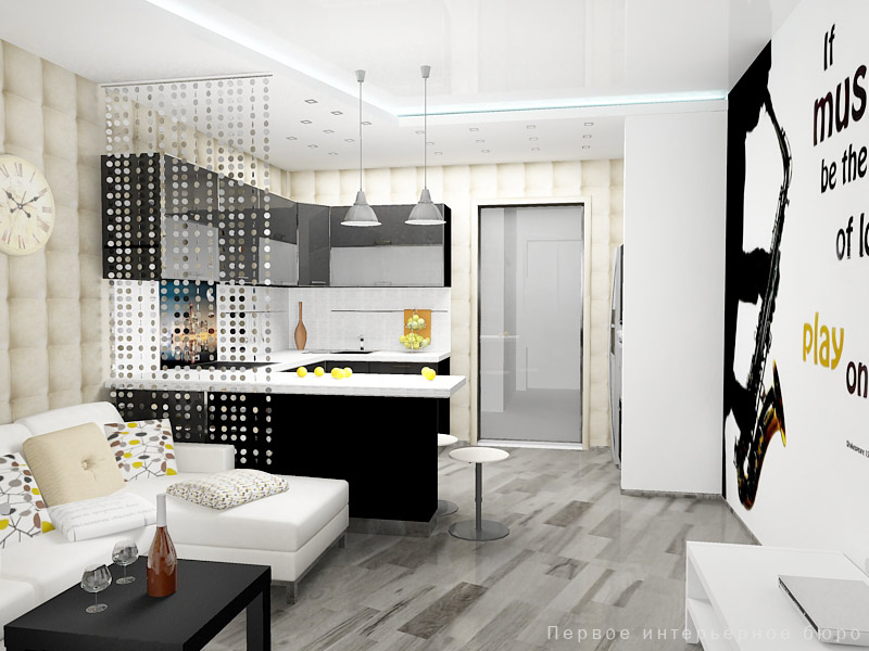 Дизайн кухни совмещенной с гостиной 18 кв.м