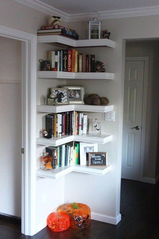 книжный стеллаж и полки в коридоре своими руками помощью столетника