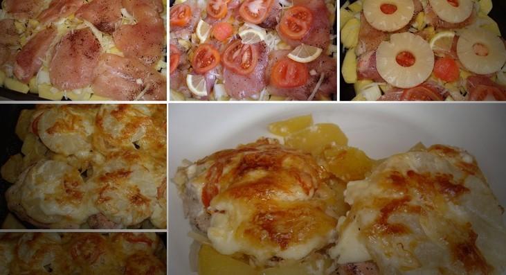 Запеченная курица с картофелем и ананасами – идеальный ужин!