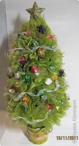 Мастер-класс, Свит-дизайн: МК елочки из конфет Новый год. Фото 34