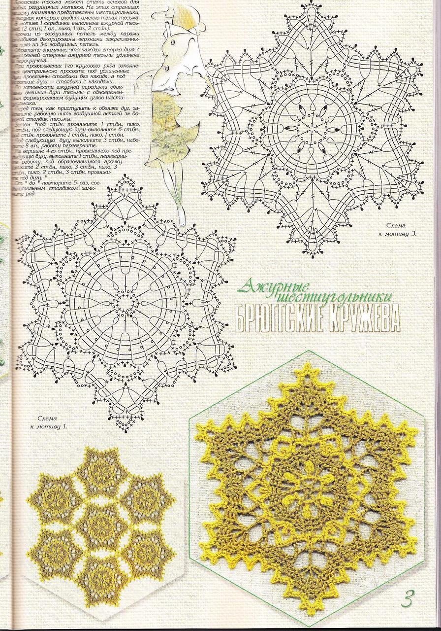 Ажурные шестиугольники(брюгги)