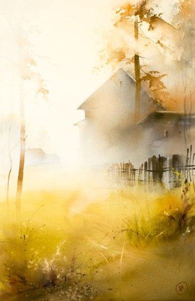 Мастер невероятных туманных пейзажей — Илья Ибряев. Акварели