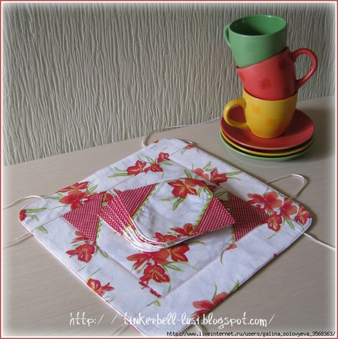 Подставка под чашку из ткани своими руками