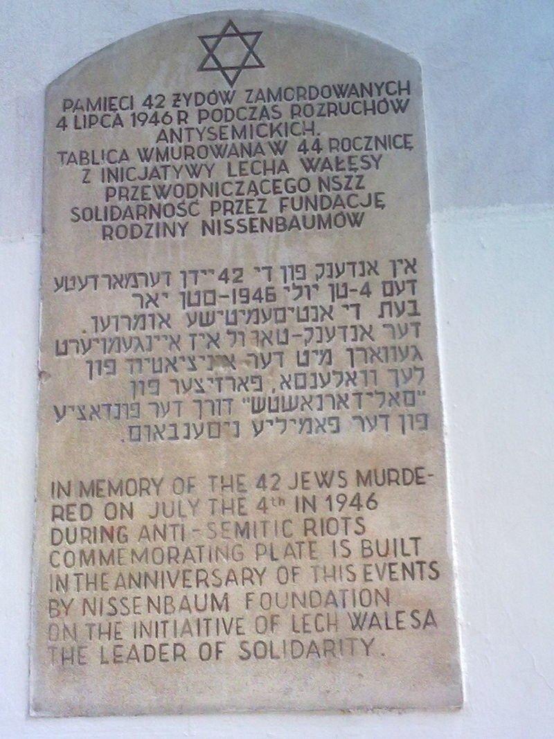 Памятник жертвам погрома в Кельце