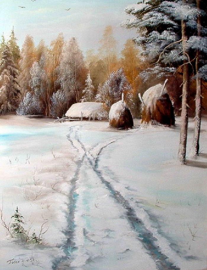 Зимние пейзажи современной художницы Натальи Гусак