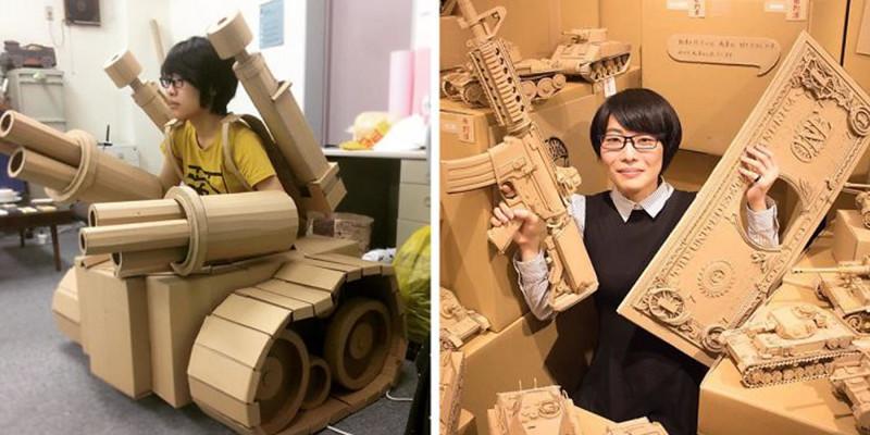 Девушка превращает старые картонные коробки в танки, еду и другие невероятные скульптуры