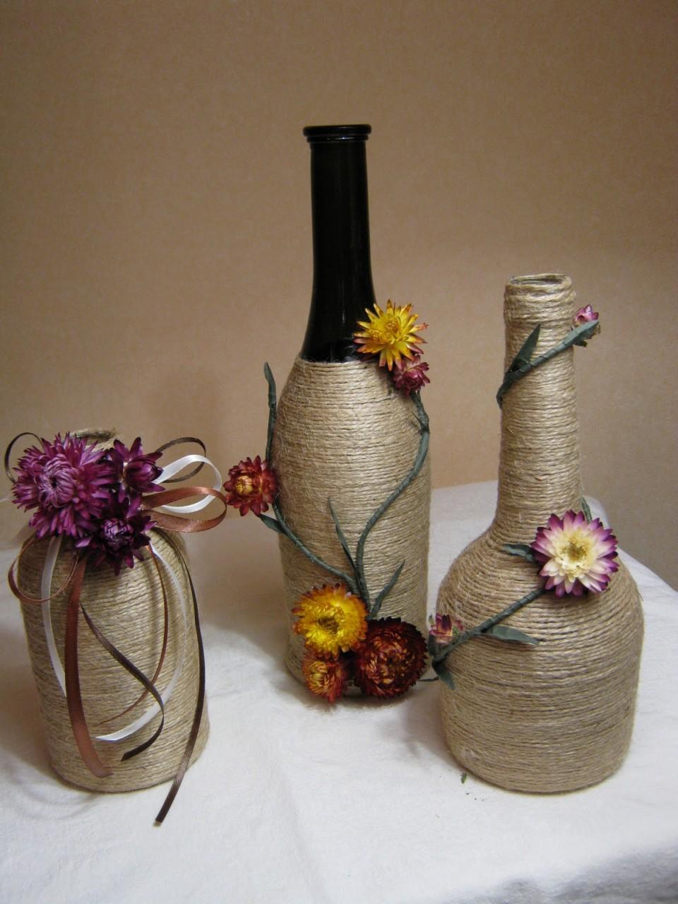 Декор бутылок в деревенском стиле