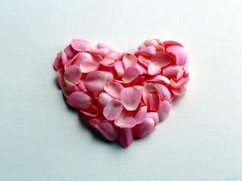 Сердце из розовых лепестков
