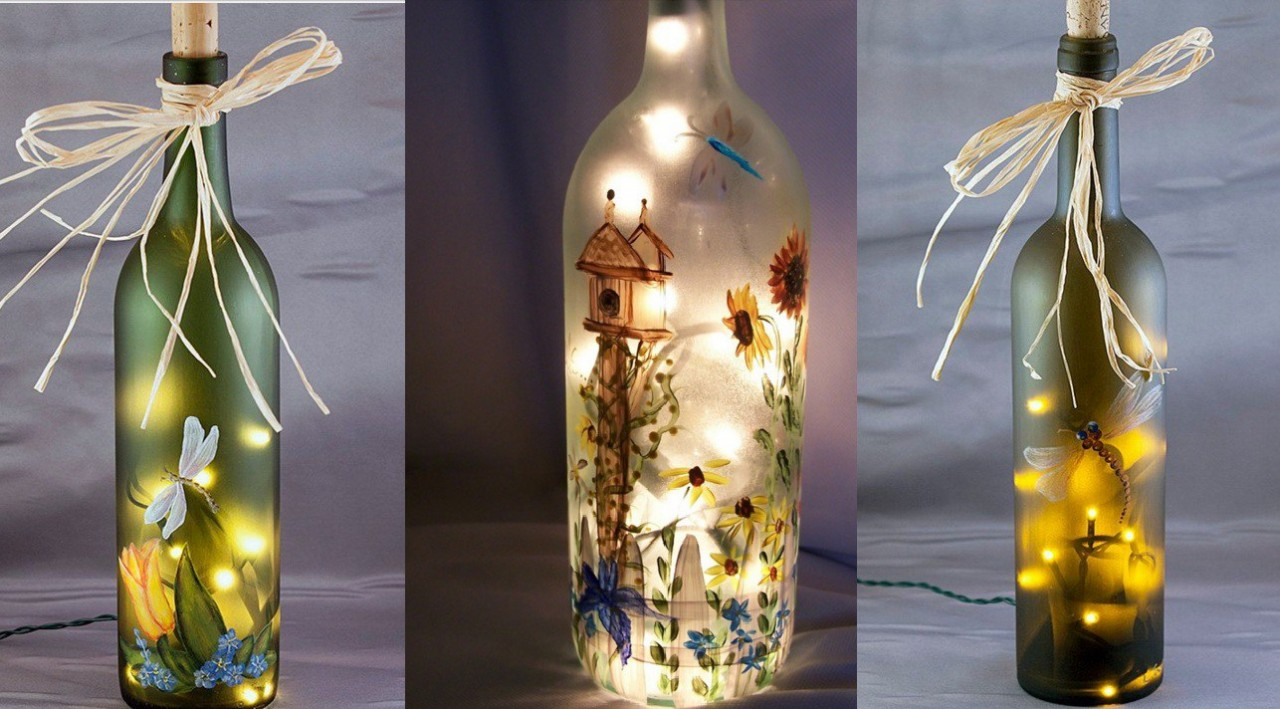 Необычный декор бутылки с помощью рисунков и гирлянд