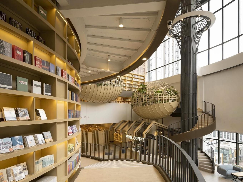 Необычный интерьер книжного магазина M.I. Bookstore в Китае