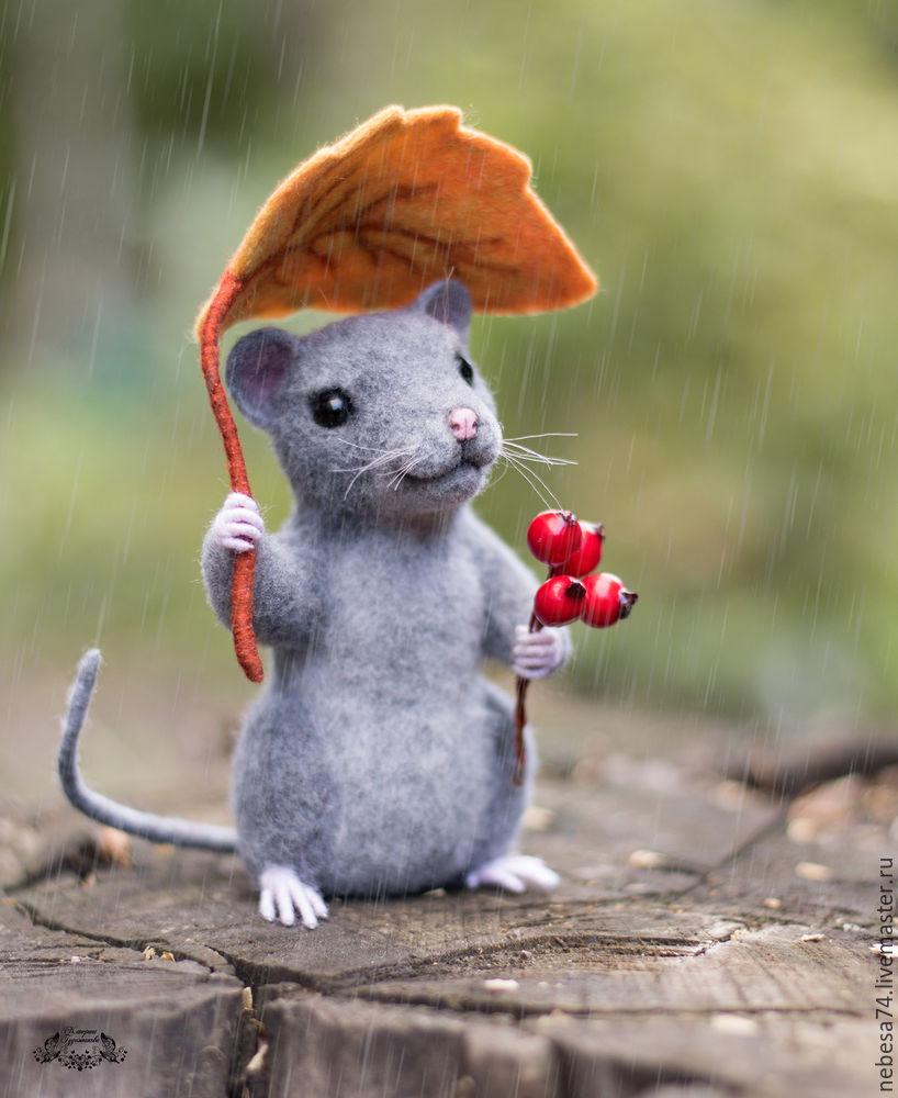 Под осенним дождем. Валяем мышонка с осенним листиком