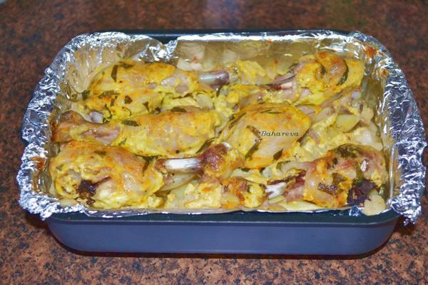 Цветная капуста с картофелем и курицей в духовке